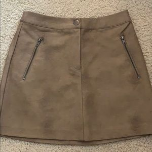 JOA Tan Leather Skirt